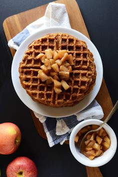 For the Apples 3 apples (2 tart, 1 sweet) peeled and cubed 1 Tbsp vegan butter or olive oil 1-2 Tbsp brown sugar (optional) 1/4 tsp cinnamon For the Waffles 1 flax egg 1 Tbsp vegan butter, melted (or sub canola, grapeseed or coconut oil) scant 1 cup unsweetened almond milk 1 Tbsp maple syrup or agave (or honey if not vegan) 1/4 cup unsweetened applesauce or pumpkin puree 1/4 cup brown sugar 3/4 tsp cinnamon 1/4 tsp salt 1/2 Tbsp baking powder 1 cup whole wheat pastry flour 1/4 cup oats
