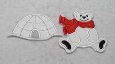 Use iron on fabric applique patches to create one of a kind DIY projects.  This MADE TO ORDER listing is for a set of two items as pictured. Measures approx: Igloo: Small: 2 in. x 4 in. Large: 2 1/2 in. x 5 1/4 in.  Polar Bear: Small: 3 1/4 in. x 3 1/2 in. Large: 4 1/2 in. x 4 3/4