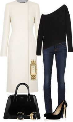 I love this look! The jeans and sweater with the AWESOME white coat!