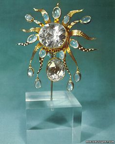 Tony Duquette jewelled brooch using crystal copies of famous diamonds set in enameled 18-karat gold and moonstones