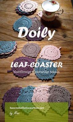 Hier findest du eine deutsche #Anleitung zu den gehäkelten blattförmigen #Untersetzer (leaf #coaster) von Katherine Laight #häkeln #doily