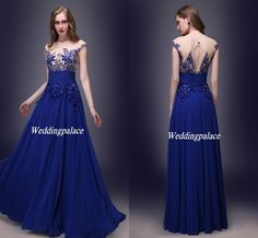 2015 Real Sample In Stock US Size 2-16 Appliques Chiffon Floor Length Royal Blue Sheer Back Fashion Cocktail Evening Gown Prom Party Dresses, $58.43 | DHgate.com
