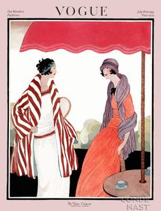 Vogue Cover Copyright 1922 Hot Weather Fashion - Our favorite Vintage Magazine Covers from 1891 to A timeline of cover personalities and historic events. Vogue Vintage, Vintage Vogue Covers, Vintage Art, Poster Vintage, Fashion Vintage, Victorian Fashion, Art Deco Illustration, Fashion Illustration Vintage, Art Deco Posters