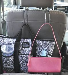 Keep your purse and grocery bags from rolling around in your car!  Clever Container car hooks! Set of 2 is only $12.00!   www.mycleverbiz.com/swalsh
