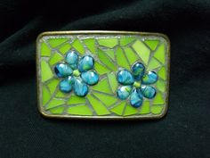 Stained Glass Mosaic Belt Buckle Lime Green with by newmoonglass, $40.00