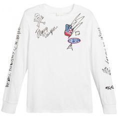 MAGLIETTA MANICA LUNGA DIESEL KID Maglietta per bambino della Diesel Kid in tinta unita di colore bianco con girocollo a maniche lunghe, stampe serigrafiche sulla parte frontale e sulle maniche, e patch decorative applicate, una maglietta della Diesel Kid da abbinare ad un paio di jeans o a un bermuda, per tutte le occasioni. #diesel #dieselkid #t-shirt #magliette #shirt #boy #baby #kid #junior #child #children #abbigliamento #clothing #shoponline #ecommerce #fashion #moda #saldi #sconti…