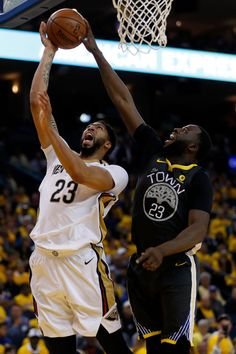 Golden State Warriors  Draymond Green blocks a shot by New Orleans  Pelicans  Anthony Davis in the third quarter of Game 2 of the NBA Western  Conference ... 62c2ad4a4