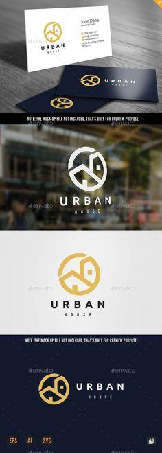 Urban House Logo: Building Logo Design Template by LayerSky. Web Design, Food Logo Design, House Design, Design Art, Logo Inspiration, Building Logo, House Building, Restaurant Logo, Hotel Logo