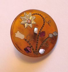 Antique Horn Button w/Inlay Flowers Silver, Brass and Iridescent Shell
