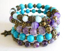 turquoise memory wire bracelet beaded amethyst memory por minouc