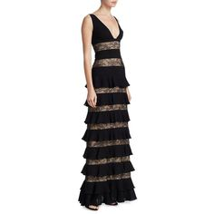 ML Monique Lhuillier Women's Lace Tiered Gown (2.190 BRL) ❤ liked on Polyvore featuring dresses, gowns, black, tiered lace dresses, lace evening gowns, deep v neck gown, sleeveless dress and lace dress