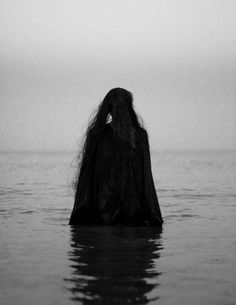 black | dark | witchy | love | water | half way | shadow | long hair | black  white | photography