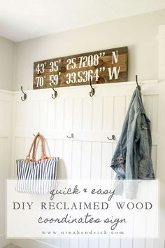This quick and easy DIY Reclaimed Pine Coordinates Sign adds a rustic accent to any wall and can be completed in a single naptime! 1275 S Huron St, Ypsilanti, MI USA Latitude: Diy Home Decor, Room Decor, Wall Decor, Wall Art, Scrapbook, Diy Signs, Wood Projects, Farmhouse Decor, Farmhouse Style