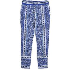 Violeta BY MANGO Paisley Baggy Trousers (41 CAD) ❤ liked on Polyvore featuring pants, bottoms, trousers, jeans, blue trousers, paisley print pants, mango trousers, drawstring pants and baggy pants