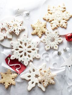 cookies from Williams Sonoma. Christmas Sugar Cookie Recipe, Cut Out Cookie Recipe, Cut Out Cookies, Sugar Cookies Recipe, Holiday Cookies, Cookie Recipes, Holiday Baking, Christmas Baking, Snowflake Cookies