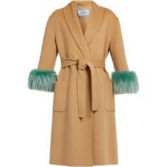 Prada Mink fur-cuff belted wool coat (19.535 RON) ❤ liked on Polyvore featuring outerwear, coats, prada, beige multi, beige wrap coat, woolen coat, belted wrap coats, print coat and pattern coat