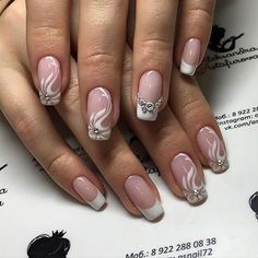 wedding nails (I like the ring finger) Cute Nails, Pretty Nails, Cute Nail Art Designs, Modern Nails, Wedding Nails Design, Bride Nails, French Nails, Manicure And Pedicure, Beauty Nails