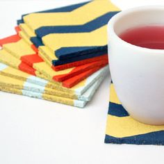 Create chic chevron coasters for any space