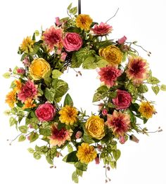 Pink and Yellow Spring Wreath