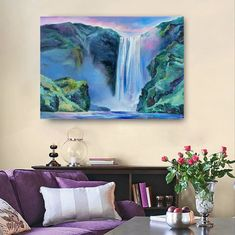 Iceland Waterfalls, Mountain Landscape, Interior Paint, Landscape Paintings, Craft Supplies, Palette, Tapestry, Canvas, Nature