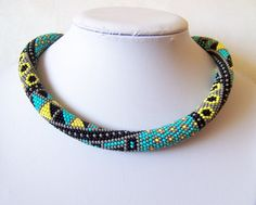 Bead crochet necklace with geometric pattern - Beaded rope necklace - Patchwork - Beadwork - grey, turquoise, yellow, black