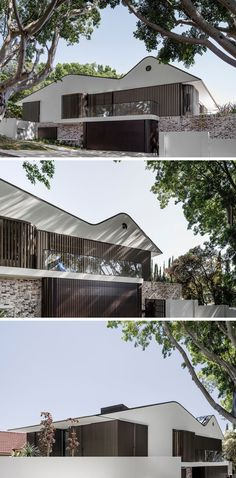 The roof line of this house is fantastic!  This house features white masonry gables and recycled bricks, combined with aluminum battens that screen the windows that face the street, creating a contemporary facade.
