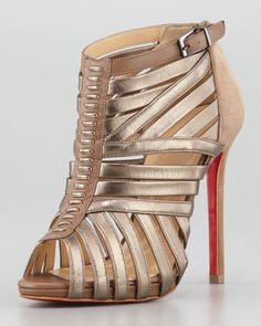 Karina Caged Red-Sole Ankle Bootie, Greige by Christian Louboutin at Neiman Marcus. OH MY!