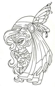 sugar skull tattoo black and white - Google Search