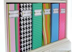 How to recover magazine files with the paper of your choice. Container-Store-Magazine-File Knock-off Office Organization Tips, Storage Organization, Organizing Ideas, Magazine Organization, Magazine Storage, Storage Boxes, Office Ideas, Storage Ideas, Magazine Files