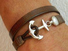 anchor bracelet mens leather bracelet mens wrap bracelet by yontuk Hook Bracelet, Bracelet Cuir, Diy Leather Bracelet, Leather Jewelry, Braided Leather, Leather Men, Leather Jackets, Pink Leather, Men Necklace