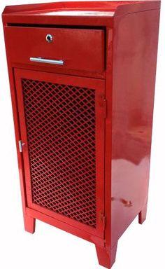 Armário Aço Vermelho Prateleira Gaveta Multi Uso Restaurado - R$ 239,99
