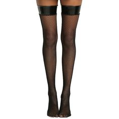 Hot Topic Blackheart Pleather Band Fishnet Thigh Highs ($9.03) via Polyvore featuring intimates, hosiery, tights, glossy tights, fishnet tights, thigh high fishnet tights, thigh high tights and shiny stockings
