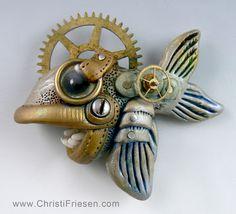 steampunk fish - christi friesen polymer with vintage and found objects #fish #steampunk #christifriesen #polymer