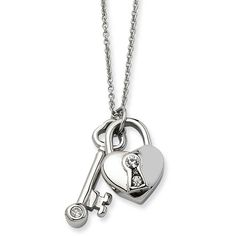 Chisel Heart Lock & Key with CZs Pendant with 2 Inch Extension Necklace, Women's
