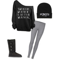 Teen fashion cute outfit style clothing sweater leggings grey black ugh boots hat homies new york lazy day bum day
