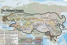 Mongol Empire Map, Just finished a good book - Genghis Khan and the Making of the Modern World. really enjoyed it and learned a lot about the Mongul Empire. Asian History, European History, World History, Ancient History, Art History, Genghis Khan, Map Globe, Historical Maps, Old Maps