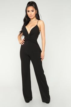 Available In Black Wide Leg Jumpsuit Adjustable Spaghetti Straps Front Knot Detail Invisible Zipper Stretch Self: Polyester; Homecoming Jumpsuit, Homecoming Suits, Prom, Edgy Outfits, Summer Outfits, Cute Outfits, Black Jumpsuit Outfit, Fashion Design Sketches, Dress And Heels