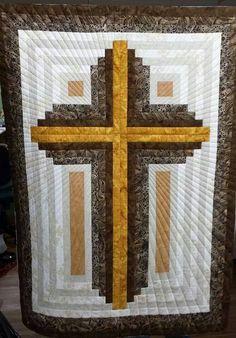 color choices for Easter wall hanging! Also, remember to quilt out like rays of light, like this project! Strip Quilts, Boy Quilts, Panel Quilts, Quilt Blocks, Jelly Roll Quilt Patterns, Quilt Patterns Free, Cross Patterns, Log Cabin Quilt Pattern, Log Cabin Quilts
