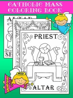 Children will love coloring these beautiful images of the Catholic Mass. Whether it's for school, home, or CCD, this set encourages children to be engaged with the Mass. It will also help them to identify the images within the sanctuary. Busy teachers may use this set as a learning tool, an art project, or transitional activity between lessons. Catholic Schools Week, Catholic Religious Education, Catholic Catechism, Catholic Mass, Catholic Crafts, Catholic Homeschooling, Catholic Sacraments, Catholic Saints, Religion Activities