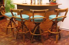 Reserved For Dio Vintage Bent Rattan Chair Set 1950 39 S Tiki Bamboo 4 Piece Set Lounger