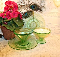 Soy Wax Vaseline Glass Tea Cup Candle,YOUR SCENT CHOICE,Homemade,Hand Poured,Gifts,Mated Set,Federal,Hocking,Uranium Glass,Optic Design by HappyAccidentCandles on Etsy