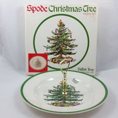 Spode Christmas Tree Tidbit Tray Round Serving Plate Center Handle England S3324 #Spode