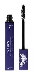 multiplEYE mascara by tarte. Ingredients: soy-amino protein, beeswax (alternative to synthetic waxes), cellulose (plant derived for thickening lashes), hydroplant peptide (increase lash softness, thickness and appearance), vitamin B5. Made without mineral oil, parabans, phthalates, SLS, synthetic fragrance.