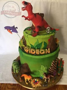 This was a massive cake with so much detail! This is an adapted design to fit the client's toys she wanted me to use. The dinosaur roared and the volcano erupted💥Please visit my page for loads of photos and videos of this spectacular cake! Fondant Cakes, Volcano, Birthday Cake, Detail, Toys, Videos, Fit, Desserts, Photos