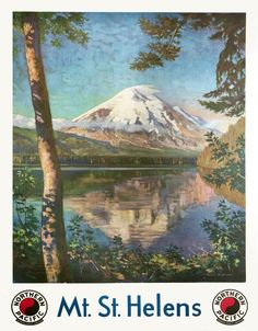 Krollman poster: Mt. St. Helens - Cascade Mountains - Northern Pacific