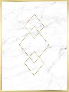 Poster met goud op wit marmer