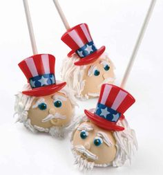 Uncle Sam Cake Pops http://store.bakerycrafts.com/Patriotic-Cupcake-Topper-Rings-rings/dp/B00LB9TMMQ?field_availability=-1&field_browse=9214759011&id=Patriotic+Cupcake+Topper+Rings+rings&ie=UTF8&refinementHistory=subjectbin%2Cprice%2Ccolor_map%2Csize_name&searchNodeID=9214759011&searchPage=1&searchRank=price-asc-rank&searchSize=12