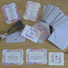 Floral watercolour lavander lilac handmade invitations