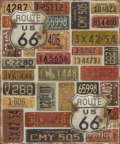 Route 66 was digitally designed and created by Jean Plout. Many old vintage license plates from all over the USA! Get your kicks on Route 66! This art would look great in any Man Cave, Game room, garage or wall that needs that cool retro touch.