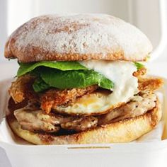 Chicken Caesar burgers with Parmesan mayonnaise and fried anchovies from Cuisine Magazine, Mar/Apr 2013 by Fiona Smith